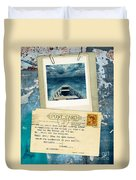 Poloroid Of Boat With Inspirational Quote Duvet Cover