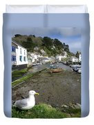 Polperro Harbour Cornwall And Seagull Duvet Cover