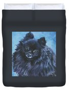 Pomeranian Black Duvet Cover by Lee Ann Shepard