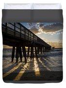 Pompano Beach Fishing Pier At Sunrise Florida Sunrays Duvet Cover