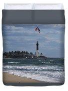 Pompano Beach Kiteboarder Hillsboro Lighthouse Catching Major Air Duvet Cover