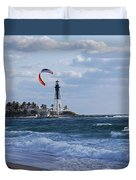 Pompano Beach Kiteboarder Hillsboro Lighthouse Duvet Cover