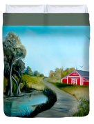 Pond By The Red Barn Dreamy Mirage Duvet Cover