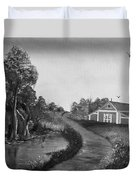 Pond By The Red Barn In Black And White Duvet Cover