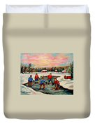 Pond Hockey Countryscene Duvet Cover