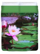 Pond With Water Lilly Flowers Duvet Cover