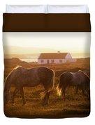 Ponies Grazing In A Field, Connemara Duvet Cover