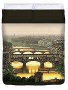 Ponte Vecchio Enlighten By The Warm Sunlight, Florence. Duvet Cover