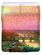 Ponte Vecchio Sunset Florence Duvet Cover