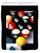 Pool Balls On Tiles Duvet Cover by Garry Gay