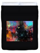 Pop Art Black Cat Painting Print Duvet Cover by Svetlana Novikova
