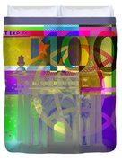Pop-art Colorized One Hundred Euro Bill Duvet Cover