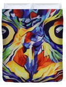 Pop Art Owl Face-1 Duvet Cover