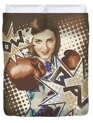Pop Art Photo Illustration. Cartoon Comic Boxer Duvet Cover by Jorgo Photography - Wall Art Gallery