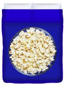 Popcorn In Glass Bowl On Blue Background Duvet Cover