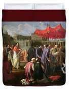 Pope Clement Xi In A Procession In St. Peter's Square In Rome Duvet Cover
