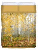 Poplar Tree Grove In Fall Duvet Cover