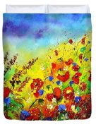 Poppies And Blue Bells Duvet Cover