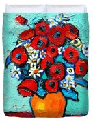 Poppies And Daisies Bouquet Duvet Cover