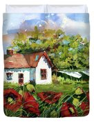 Poppies And Laundry Duvet Cover