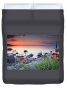 Poppies By The Sea Duvet Cover