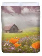 Poppies In A Dream Watercolor Painting Duvet Cover