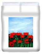 Poppies In A Field Duvet Cover
