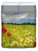 Poppies In A Wheat Field Duvet Cover