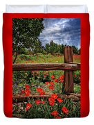 Poppies In The Texas Hill Country Duvet Cover