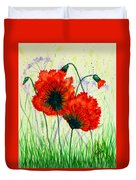 Poppies In The Wild Duvet Cover