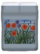 Poppies, Iris, Giant Alium Duvet Cover