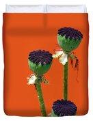 Poppies On Orange Duvet Cover
