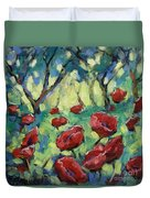 Poppies Through The Forest Duvet Cover