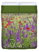 Poppy And Wild Flowers Meadow Nature Scene Duvet Cover