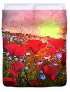 Poppy Fields At Dawn Duvet Cover