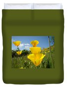 Poppy Flower Meadow 7 Poppies Blue Sky Artwork Baslee Troutman Duvet Cover