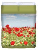 Poppy Flowers Field Nature Spring Scene Duvet Cover