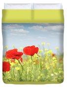 Poppy Flowers Nature Spring Scene Duvet Cover