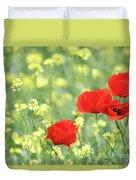 Poppy Flowers Spring Scene Duvet Cover