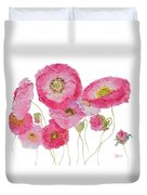 Poppy Painting On White Background Duvet Cover