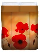 Poppy Triptych Duvet Cover by Valerie Anne Kelly