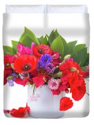 Poppy With Sweet Pea And Corn Flowers On White Duvet Cover