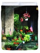 Porch With Geraniums And American Flags Duvet Cover