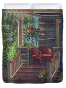 Porch With Red Wicker Chairs Duvet Cover