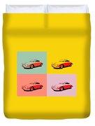 Porsche 356 Pop Art Panels Duvet Cover