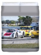 Porsches In The Corner At Sebring Raceway Duvet Cover