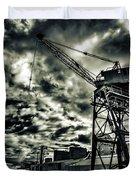 Port Crane At Dusk Duvet Cover