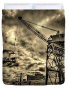 Port Crane At Sunset Duvet Cover