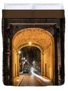 Port Dinan Archway At Night Duvet Cover