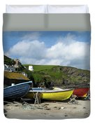 Port Isaac Boats Duvet Cover